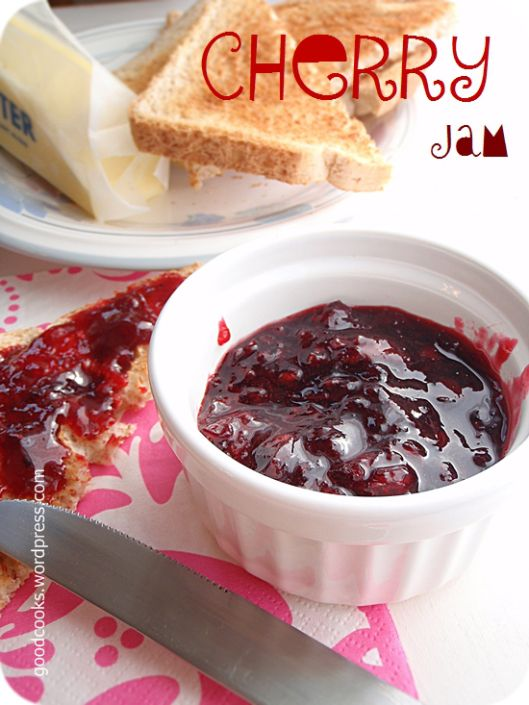 Sweet Cherry Jam...Very delicious! 1/4 inch headspace and 10 minutes in hot water bath