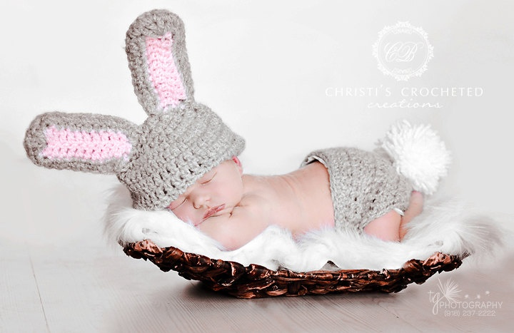 Little Bunny Outfit by CBCrochetedCreations on Etsy, $41.95: Etsy, 44 95 Crocheted Baby Hats, Baby Kid Photograhy, Baby Bunnies, Newborn Photos, Newborn Photo Shoots