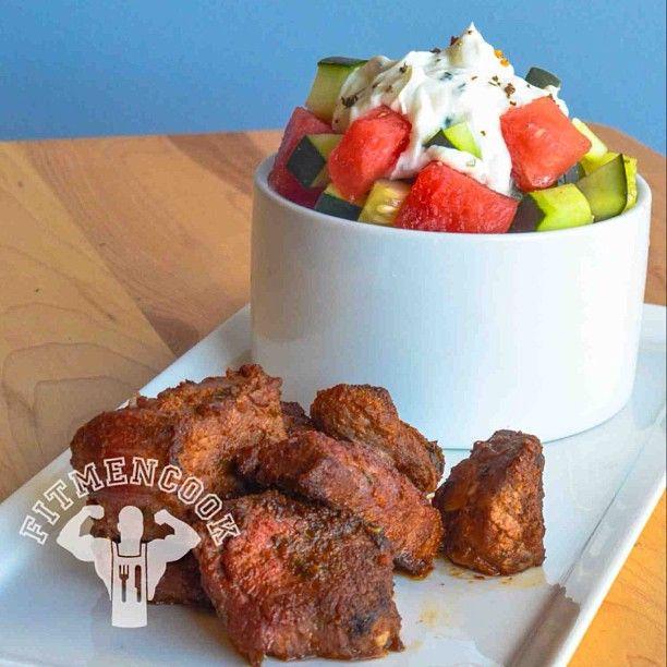 Sunday Salad: spicy flank steak with watermelon & cucumber salad ...