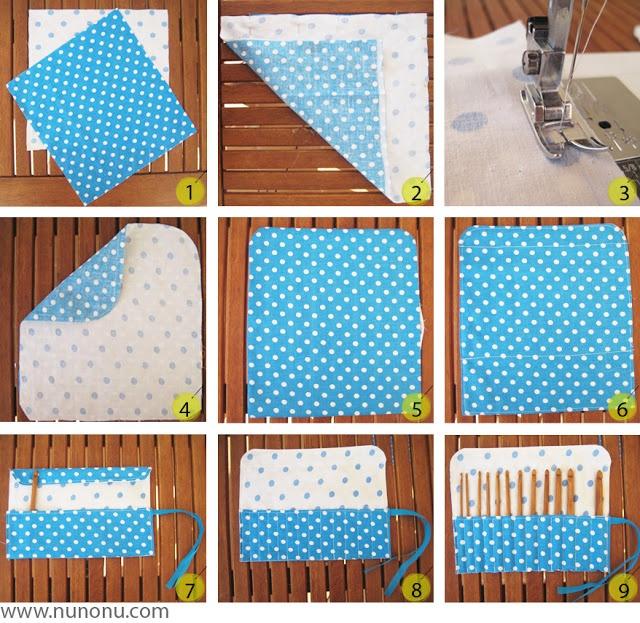 nunonu: tutorial para hacer una funda enrollable para agujas de crochet