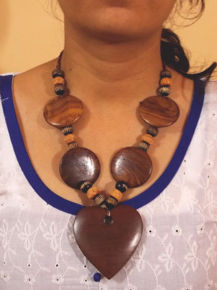 Necklace made with pure wood. Artistic polished wooden beads necklace. Heart shape wooden pendant.