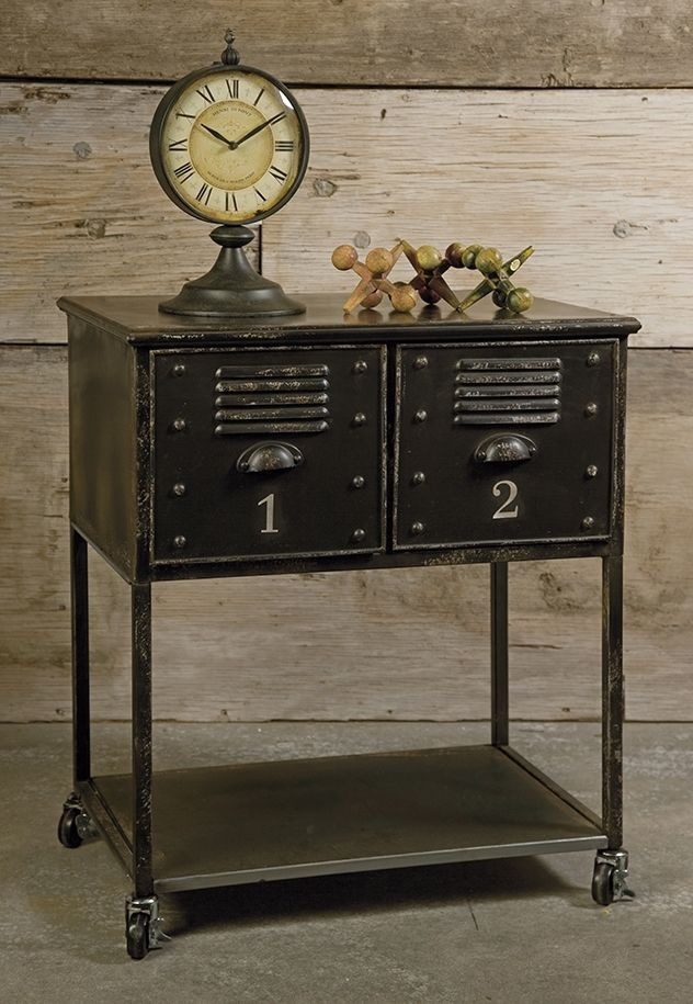 Black 2 Drawer Rolling Cart Table, Industrial Multi-function Storage, Island