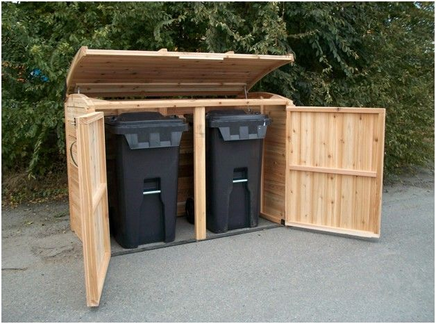 "Outdoor Living Today | 6x3 Oscar Trash Can Storage Shed OSCAR63 Dimensions: 48"" H front, 50""H back x 72.5"" W x 37"" D"