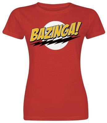 """Bazinga!"" You gotta have this bright red girl shirt of tv series ""The Big Bang Theory"" in comic style. Sheldon always utters a snappy ""Bazinga!"" when he thinks he has made a cunning remark or told a witty joke to his nerdy friends."