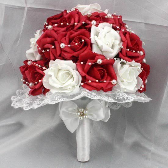 Venda quente Vermelho e Branco Flores Rosa Artificial Pérolas Lado Rendas de Noiva Buquê de Casamento(China (Mainland))
