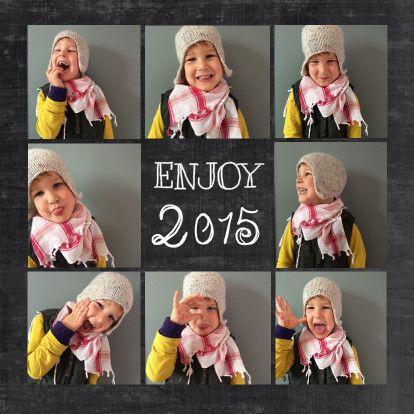 Originele nieuwjaarskaart 2015, kerstkaart met foto's van je gezin of kind op chalkboard, schoolbord. Origineel van Zus&ik. Kerstkaart foto's