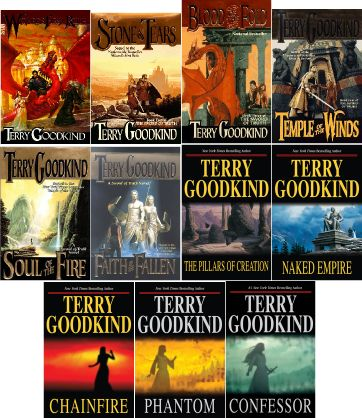 """The Sword of Truth series by Terry Goodkind is one of my favorites ever.  A very long series, each book follows the """"seeker"""" from his quiet life as a woods guide to...well you will have to find out yourself."""