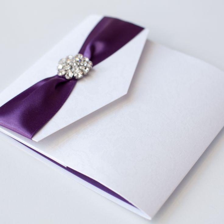 Purple Monogram Pocketfold Wedding Invitation Crystal Brooch