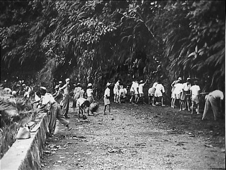 Padang: Inheemse werkkrachten in dienst van de 3e Genie Veldcompagnie, herstellen de weg over de Soebang-pas, die na de politionele acties op vele punten vernield werd en wel zodanig, dat alle verkeer uitgesloten was. Onder toezicht van enkele militairen zijn tientallen nijvere handen, met patjol en schop, bezig aan het herstel.
