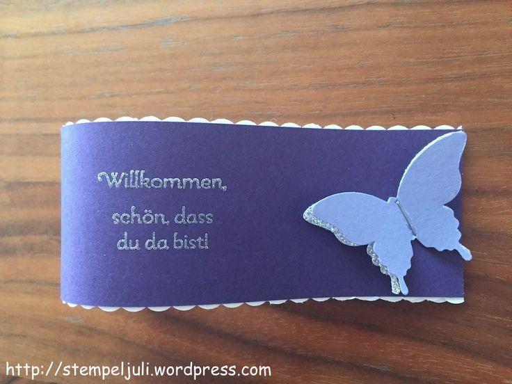 ringe basteln hochzeit | Stampin Up Servietten-Manschetten Serviettenring Schmetterling Glitzer ...
