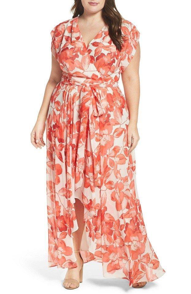 Coral floral chiffon dress