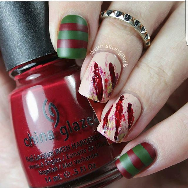 Ok guys..I've been majorly slacking on my challenge nails. I had an event to attend on the day of the last entry..so I plan to play catch up today.  But while you wait, I thought I'd #repost a design I did last year for Halloween that is currently circulating around Pinterest. Unfortunately the only polish that I know was used was @chinaglazeofficial 'city siren' (the red). Any nude polish will work for the middle two fingers. The main player of this look though is a matte topcoat. Let it…