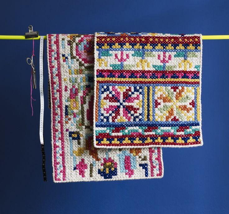 Pattern Folk Cross Stitch Rug  | Oliver Bonas