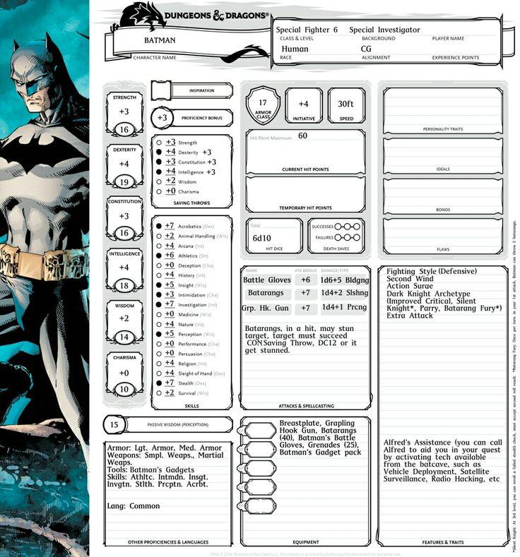 Batman Character Sheet O5r Megadungeon In 2019