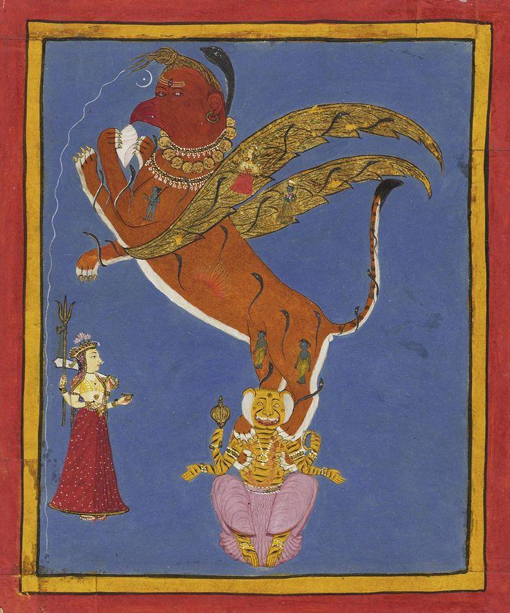 "Shiva as Sharabha Overpowers Vishnu as Narasimha. Made in Udaipur, Rajasthan, c. 1720. ""Vishnu incarnated as the half-man, half-lion Narasimha (his fourth avatar) to subdue a particularly powerful demon. Afterward, however, Narasimha himself became too powerful. To stop him, Shiva incarnated in the form of the Sharabha, an eight-legged man-lion-bird."""