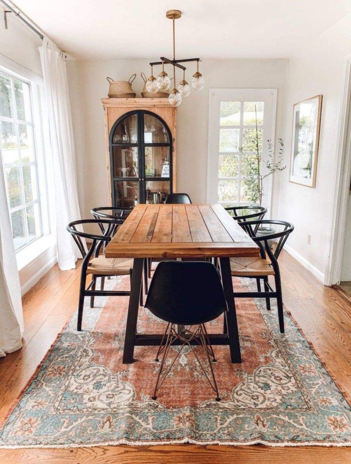 Not The Chairs But The Rug And Table Dining Room Design Home