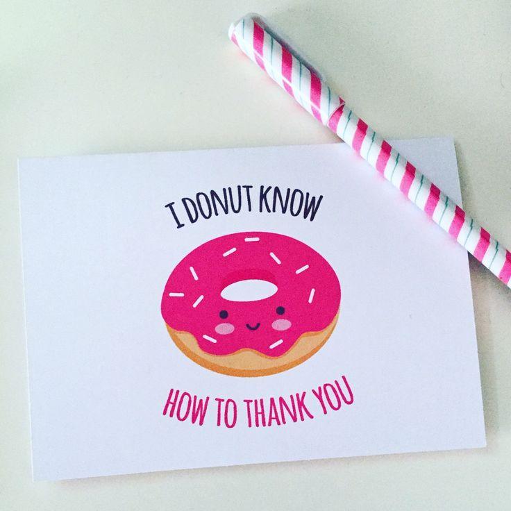 Card Making Ideas Pdf Part - 20: Biglietto Ringraziamento Con Donut - PDF DIY Stampabile - Ringraziamento  Carino Kawaii Formato A6 (14,8cmx10,5cm). Funny Thank You CardsDonut ...