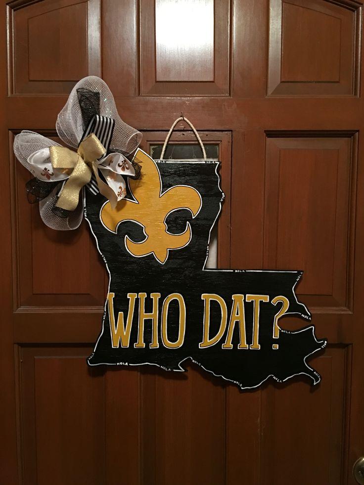 New Orleans Saints Who Dat Wooden Door Hanger Wooden