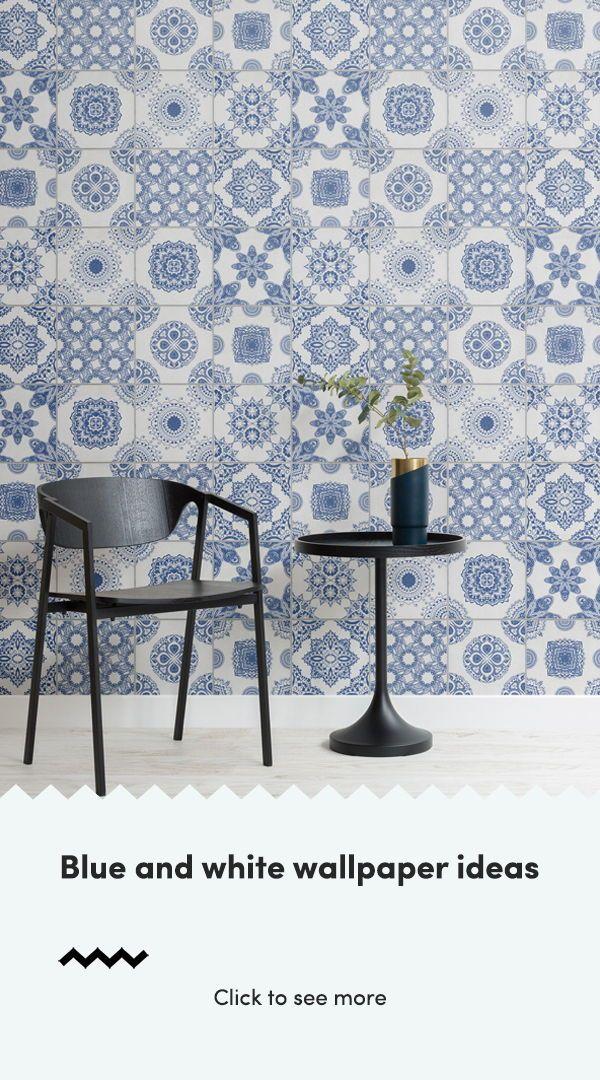 Blue And White Tile Wallpaper Muralswallpaper Blue And White Wallpaper Tile Wallpaper White Wallpaper