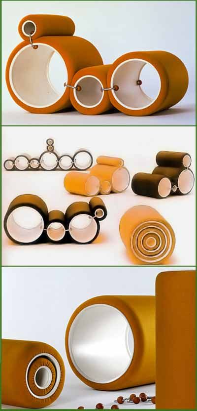 "Tube Chair, Joe Colombo, 1970 Assemblage des cylindres ""cellule d'habitation"" Tout en un"