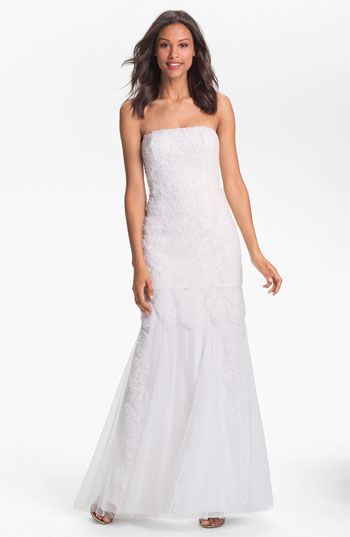 adrianna papell wedding dress papell strapless rosette mermaid gown available 1210