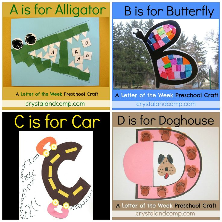 Letter of the week for Preschoolers--The crafts include a free printable, if needed, and step by step instructions for creating an awesome alphabet activity with your little one.  At the end of each craft there is a song and a rhyme you and your little one can enjoy together as well as a list of books you can read together. These are excellent activities to do together to really help your preschooler learn the letter