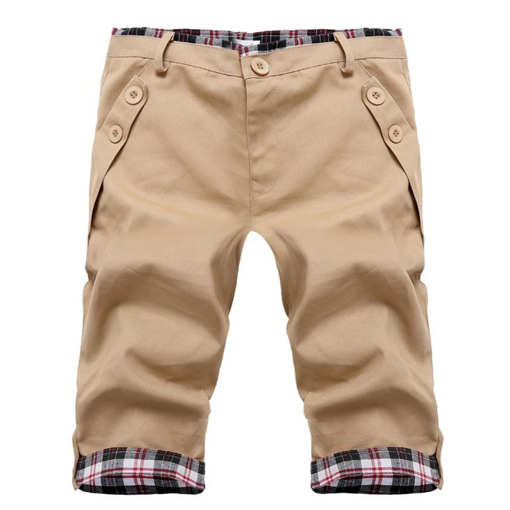 $17.79 Fashion Straight Leg Plaid Spliced Color Block Zipper Fly Shorts For Men