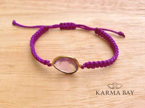Purple Bezel Macrame Bracelet #ArmCandy #KarmaBay #Fashion #Accessories #Jewellery