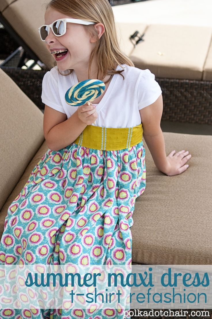 A free tutorial to make a girls maxi dress from a t-shirt. Refashion an unused or too small t-shirt into a fun summer maxi dress pattern.