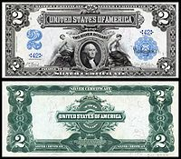 "Paper Money of the United States: Two Dollar Silver Certificate, Series of 1899 American collectors refer to these notes as ""mini-portholes"" because it looks like George Washington is being viewed through the porthole of a ship. This is also the only two dollar bill that George Washington was featured on. The 1899 $2 Silver Certificate also referred to as the ""Agricultural Note."""