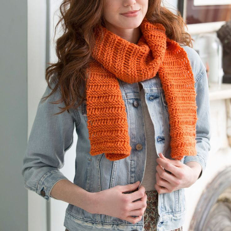 Red Heart Beginner Garter Drop-Stitch Scarf   Easy scarf ...