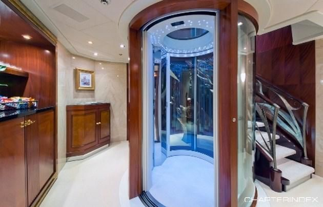 Elevator in Guest Accomodations - BLUE MOON Charter Yacht