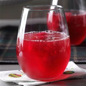 Blackberry Brandy Slush Recipe -We wanted a fun twist on a slushy made with tea and fruit juice, so we used blackberry brandy. The deep red color makes it very merry. —Lindsey Spinler, Sobieski, WI
