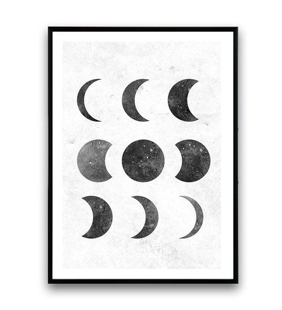 Luna fase impresión blanco y negro Lunar fases arte por Wallzilla