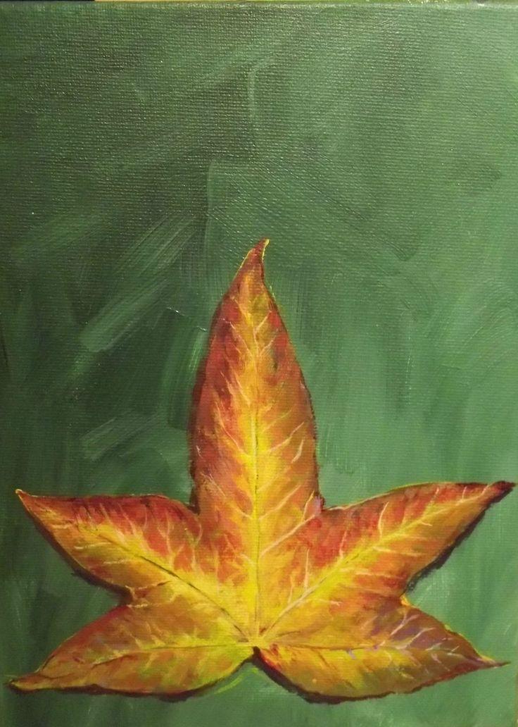 Autumn Leaf study Acrylic on canvas