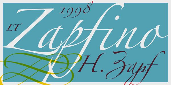 Linotype Zapfino font family, a calligraphy script typeface by Hermann Zapf in technical collaboration with David Siegel and Gino Lee.