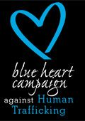 Stop human trafficking. The United Nations - Blue Heart Campaign.