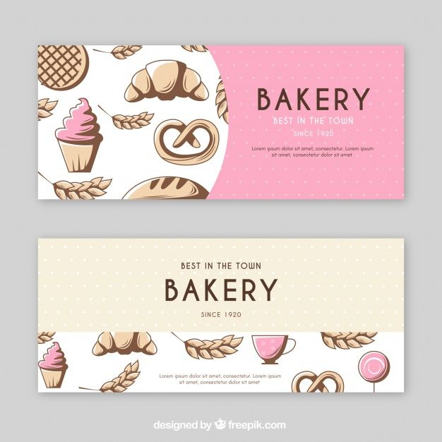 Download Bakery Banners In Flat Style For Free Bakery Logo Design Banner Design Banner Template Design