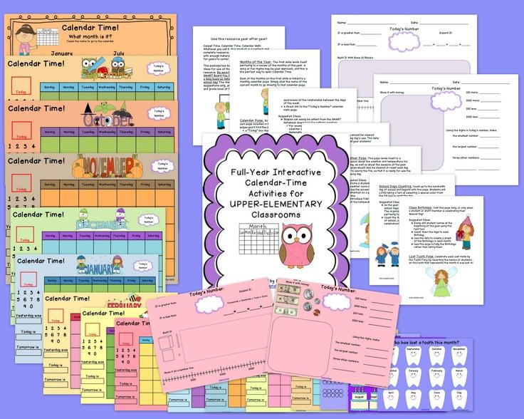 UPPER ELEMENTARY Complete Interactive Calendar Math SMART Board + EXTRAS from Mrs. Beattie's Classroom: HUGE Calendar Math resource for UPPER grades!