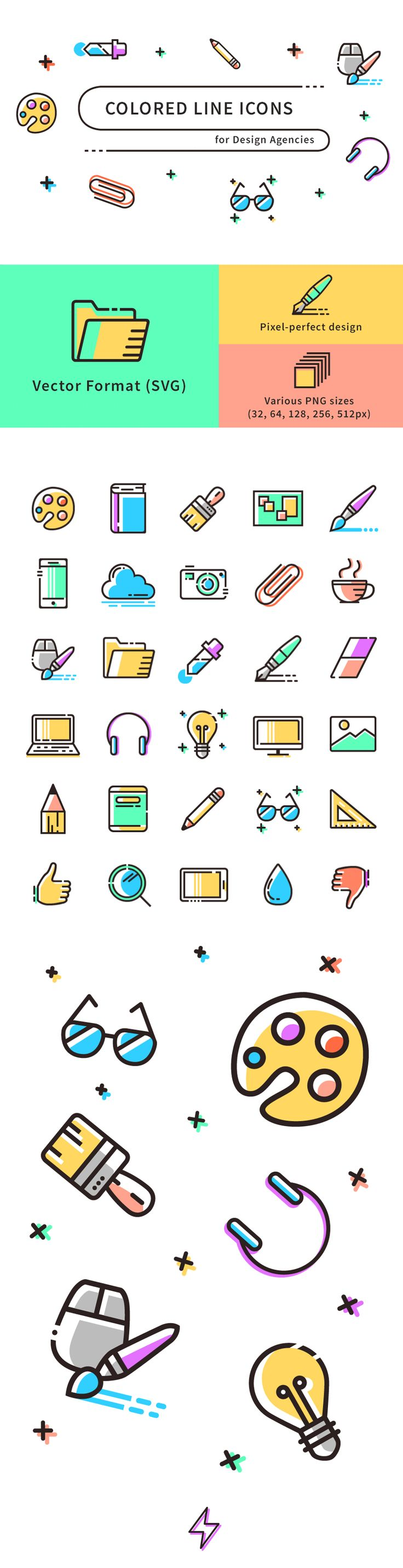 Freebie: Colored Line Icons (SVG, PNG A set of 30 …
