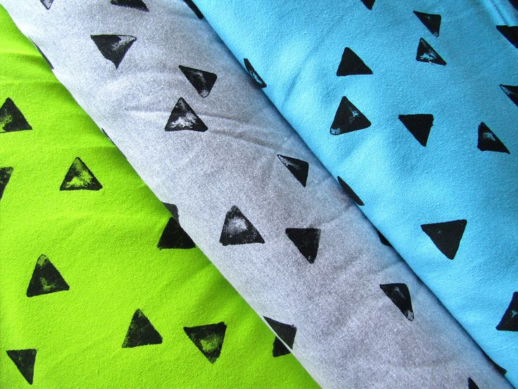 Sweatshirt jersey fabric  Jersey Fabric  Black triangles on Blend Light Grey or Turquoise  Jersey Knit Cotton  Jersey  fabric