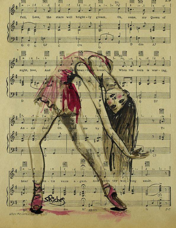 """Saatchi Online Artist: Sara Riches; Ink 2013 Drawing """"Vintage Dancer"""" #art #ballerina"""
