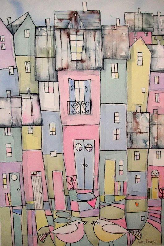monicablom Hus i pastell