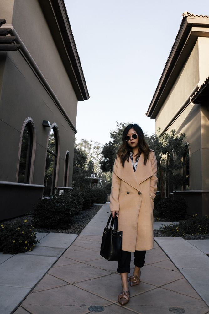 fall outfit, winter outfit, striped blouse, pinstripe trousers, zara, bow detail flats, camel coat, light tan coat, petite outfit, furla stacy bucket bag