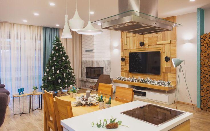 Новогодний декор небольшого энергоэффективного коттеджа