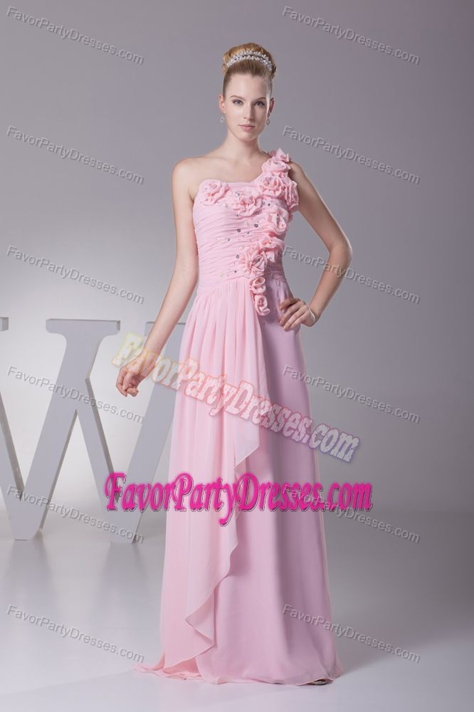 Top Chiffon One Shoulder Baby Pink Anniversary Paty Dress with Flowers