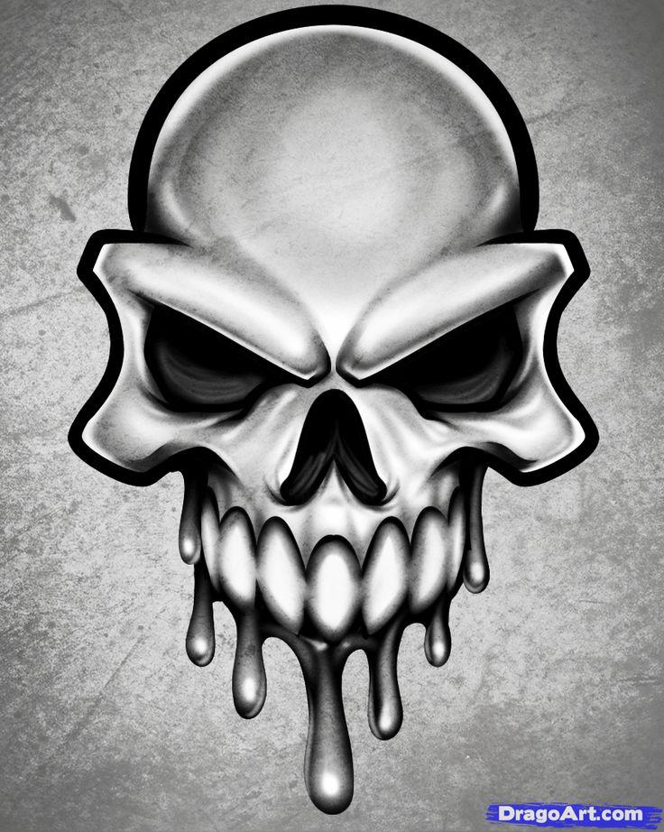 how to draw a skull head, skull head tattoo
