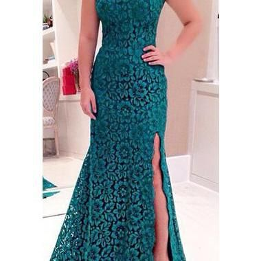 Sexy Open Back Side Slit Green Lace..