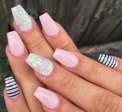 Pink with Iridescent Mylar Accent Nail