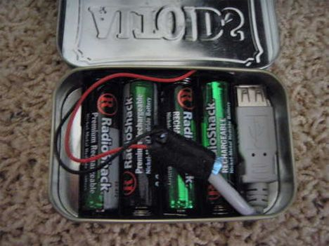 This simple USB charger uses 4 AA batteries, an Altoids tin, and some miscellaneous parts that will cost you about $30 altogether.